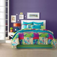 Exude a lively energy in your bedroom with the vibrant J by J. Queen New York Yoko Comforter Set. The beautiful Asian-inspired bedding features a fresh patchwork pattern with Asian blossoms, branches and butterflies in bright, bold colors. King Size Comforter Sets, King Size Comforters, King Comforter, Queen Bedding, Floral Comforter, Tropical Bedding, Bedding Collections, Bed Spreads, Bedding Shop