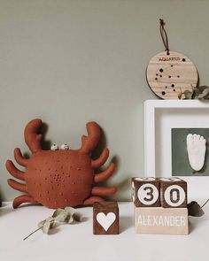 Red Crab, Stuffed Soft Animal, Nautical Baby Gift, Personalized Stuffed Animal, Handmade Linen Toy R Unique Toys, Nautical Baby, Baby Development, Nursery Decor, Themed Nursery, Cool Toys, Baby Gifts, Make It Yourself, Christmas Ornaments