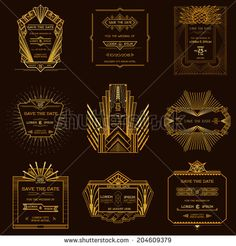 Save the Date - Set of Wedding Invitation Cards - Art Deco Vintage Style - in vector - stock vector