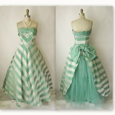 50's Wedding Dress // Vintage 1950's Striped by TheVintageStudio, $234.00