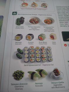 Блок Вегетарианского меню и Вегетарианский сет роллов в новом меню Планеты Суши. Наконец-то больше нет необходимости перелопачивать всё меню!)