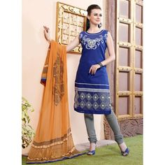 Party Wear Readymade Navy Blue Salwar Suit - 79782