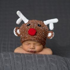 Rudolph Baby Reindeer Hat - For boy or girl