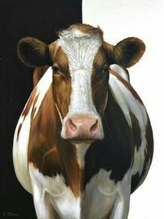 Aukje the Cow, oil/canvas 32 x 24 inch x 60 cm) © 2012 Alexandra Klimas Cow Drawing, Cow Pictures, Holstein Cows, Cow Face, Happy Cow, Cow Painting, Cute Cows, Farm Art, Tier Fotos