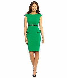 Green Belted Peplum Dress University Of South Florida, Green And Gold, Dillards, Peplum Dress, Dresses For Work, Belt, My Style, Clothes, Digital
