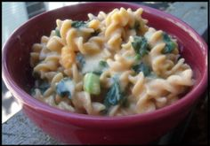 Grown up Mac and Cheese, Pasta smothered in a Butternut Squash Cheese Sauce Topped with Wilted Spinach and Broccoli #vegan