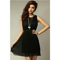 Pleated Black Tank Dress | pariscoming