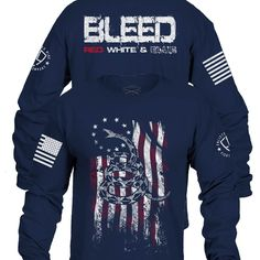 Enlisted Nine - Bleed Red, White, and Blue Long Sleeve Grunt Style, Blue Long Sleeve Shirt, Motorcycle Jacket, Christmas Sweaters, Red And White, Street Wear, Airsoft Gear, T Shirt, Cotton
