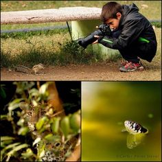 Nine year old boy taking pictures nature and animals as a professional photographer