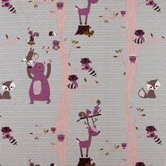 Bomull grå m rosa/lilla skogens dyr