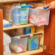 Slim Rolling Cabinet Storage Bins Cut down on the clutter in your closet, pantry or cabinet with this Space Saving Rolling Storage Bin. The large, clear compartment Storage Hacks, Diy Storage, Storage Organizers, Food Storage, Pantry Storage, Pantry Baskets, Storage Solutions, Cabinet Organizers, Pantry Closet
