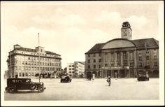 Postcard Sonneberg in Thüringen, Blick auf das Rathaus am Bahnhofsplatz