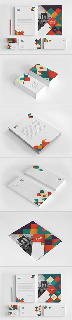 Colorful Pattern Stationery. Download here: http://graphicriver.net/item/colorful-pattern-stationery/11736367?ref=abradesign #design #stationery