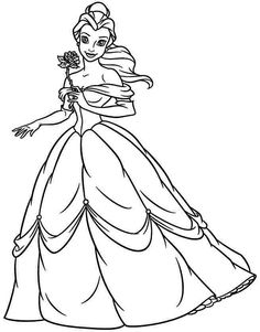 collection of princess belle coloring pages to print and color