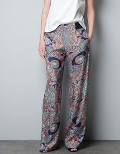 PRINTED SATIN TROUSERS - Trousers - Woman - ZARA United States