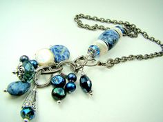 Denim blue gemstone crystal pearl charm necklace by strandsofgrace.