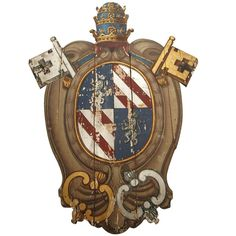 Family Crest Symbols, Pope Pius Ix, Affordable Furniture, Wood Planks, Coat Of Arms, Painting On Wood, Old World, Panelling, Antiques