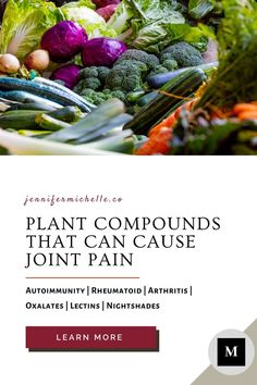 If you suffer from autoimmune joint pain there are some plant compounds that may make your pain worse. Many have found relief by eliminating these compounds. Whether it works for you who knows, but isn't it at least worth exploring? #autoimmunity #jointpain #painfree #rheumatoid #jennifermichelleco Lion Diet, Women's Health, Health Tips, Rheumatoid Arthritis Diet, Lectins, Autoimmune Paleo, Fodmap Recipes, Food Journal, Low Fodmap