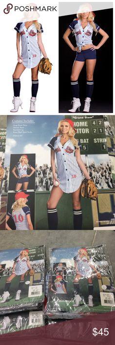 Gland Slam Baseball Player Costume 4 piece set: Snap front dress. Stretch short. Baseball cap. Knee high sport socks. Dreamgirl Dresses Mini