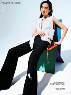 """""""A Touch of Color"""" Li Jingwen by Katja Rahlwes for Vogue China May 2015"""