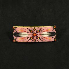 Pink Feather Beaded Barrette