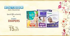 Hurry up @ eSTOOR.com  Get Flat 15% Off on baby Dipers !!!