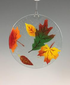Glass Backsplash Kitchen, Window Hanging, Sun Catcher, Fused Glass, Autumn Leaves, Special Gifts, Christmas Bulbs, Holiday Decor, Flowers