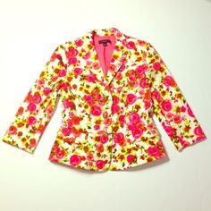 Ann Taylor rose blazer  Worn once ; gorgeous and vibrant rose pattern! Ann Taylor Jackets & Coats Blazers