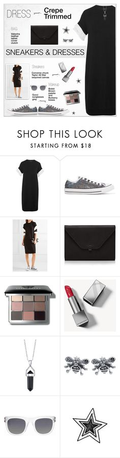"""""""Sporty Chic: Sneakers and Dresses !"""" by alves-nogueira ❤ liked on Polyvore featuring Clu, Converse, Valextra, Bobbi Brown Cosmetics, Burberry, Bridge Jewelry and Gucci"""