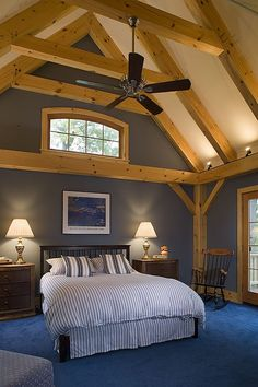 Bedroom photo in Eastern White Pine Woodhouse timber frame home