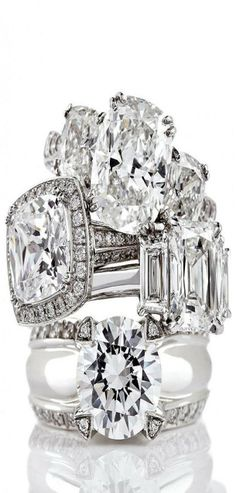 ♔ 4 Ring stack....love diamonds