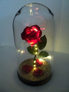 Beauty and the Beast INSPIRED Light up RED enchanted rose in glass dome - Wedding Gift / Centrepiece / Anniversary Gift / Birthday Gift Beauty And The Beast Flower, Beauty And The Beast Crafts, Red Wedding Centerpieces, Wedding Venue Decorations, Rose Flower Png, Rose In A Glass, Quince Decorations, Forever Rose, Enchanted Rose