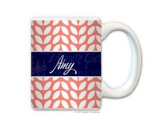 Coral/Navy Allure Personalized Coffee Mug from Paper Concierge