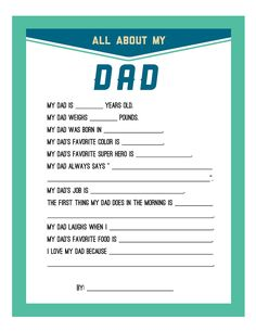 FREE Persnickety Prints Blog: Fathers Day (Dad or Grandpa) Printable perfect as a gift for pre-school kids to fill in and give out, or to include in a child's personal history.