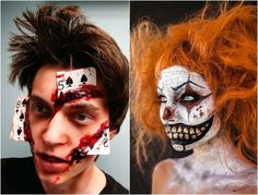 maquillage Halloween avec des cartes et peinture rouge imitation sang
