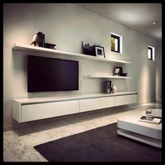 23 Ideas For Living Room Tv Wall Modern Floating Shelves Decorating Ideas Floating Entertainment Unit, Floating Tv Unit, Entertainment Centers, Floating Tv Cabinet, Floating Shelves For Tv, Floating Tv Stand Ikea, Ikea Stand, Deco Tv, Built In Tv Cabinet
