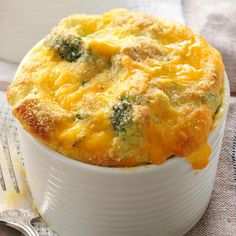 Decadent Broccoli Souffle Recipe -I combine fresh broccoli with cheddar cheese for a stunning side dish that appeals to everyone...even kids!—Elaine Luther, Homosassa, Florida