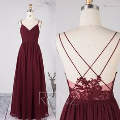 d81295fd625cf Bridesmaid Dress Wine Chiffon Dress Wedding Dress Spaghetti Straps Prom  Dress V Neck Maxi Dress Illusion Lace Open Back Evening Dress(H497B)