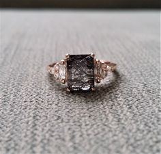 "Antique Rutile Quartz Moissanite and Diamond Engagement Ring Emerald Cut Baguette Classic Rose Gold timeless PenelliBelle Rustic ""The Margo"" by PenelliBelle on Etsy https://www.etsy.com/listing/565557164/antique-rutile-quartz-moissanite-and"