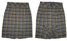 Nanette Lepore Wool Ruffed Plaid Pencil Mini Skirt