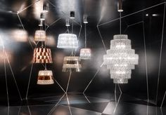 French designer Arik Levy used created tiles of crystal in his Tuile de Cristal light fixtures, a technique which throws light around the room to dazzling effect. Ceiling Lights, Lighting Design, Pendant Chandelier, Beautiful Lamp, Gallery Wall, French Design, Baccarat Chandelier, Chandelier, Architectural Digest