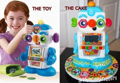 Cogsley Robot Toy and Cosley Robot CAKE!  #cogsley #robot #cake #boys #toys #kids #children #birthday #vtech #toysrus #ideas #creative #sculpted #3d #fondant #thecakinggirl Fondant Cake Designs, Cool Cake Designs, Fondant Wedding Cakes, Cool Wedding Cakes, Robot Cake, Realistic Cakes, Making Fondant, Pinterest Cake, Hand Painted Cakes