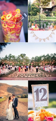 red+yellow colors Maravilla Gardens, sweets table reception, sunset portrait, wedding