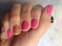 Shellac hot pop pink with shellac  gold and hot pop pink heart on accent nail