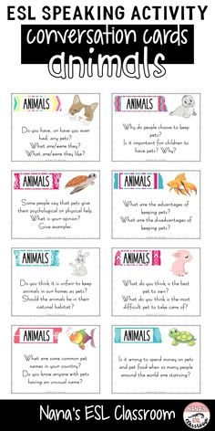 This resource includes 40 different conversation cards about animals. Ideal for teen ESL students to practice speaking or can be used as class openers or finishers and even as writing prompts. English Vocabulary Words, English Language Learners, English Words, German Language, Japanese Language, Spanish Language, French Language, Esl Lessons, English Lessons