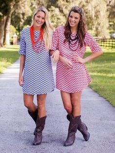 Chevron Gameday dress cute ideas for a cooler fall tailgate