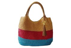 Striped Crochet Tote, Yellow/Red | Bag the Boho Look | One Kings Lane
