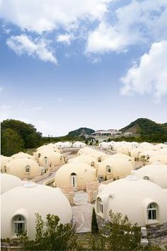 Dome cottages in Toretore Village Sirahama, Wakayama, Japan 白浜
