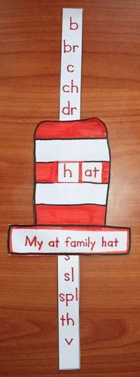 "Word Work Activities: Seuss's Cat Hat AT Word Family slider craft. My kiddos LOVE making ""sliders"". Fun way to whole-group assess too! Dr Seuss Activities, Word Family Activities, Language Activities, Dr Seuss Week, Dr Suess, Kindergarten Literacy, Early Literacy, Literacy Centers, Dr Seuss Crafts"