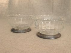 Sale *Vintage Glass Bowls with Silver Plate Base / Pair of Pretty Trinket Dishes